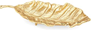 Benjara, Gold Benzara BM186852 Aluminum Crafted Decorative Leaf Tray with Stem Handle