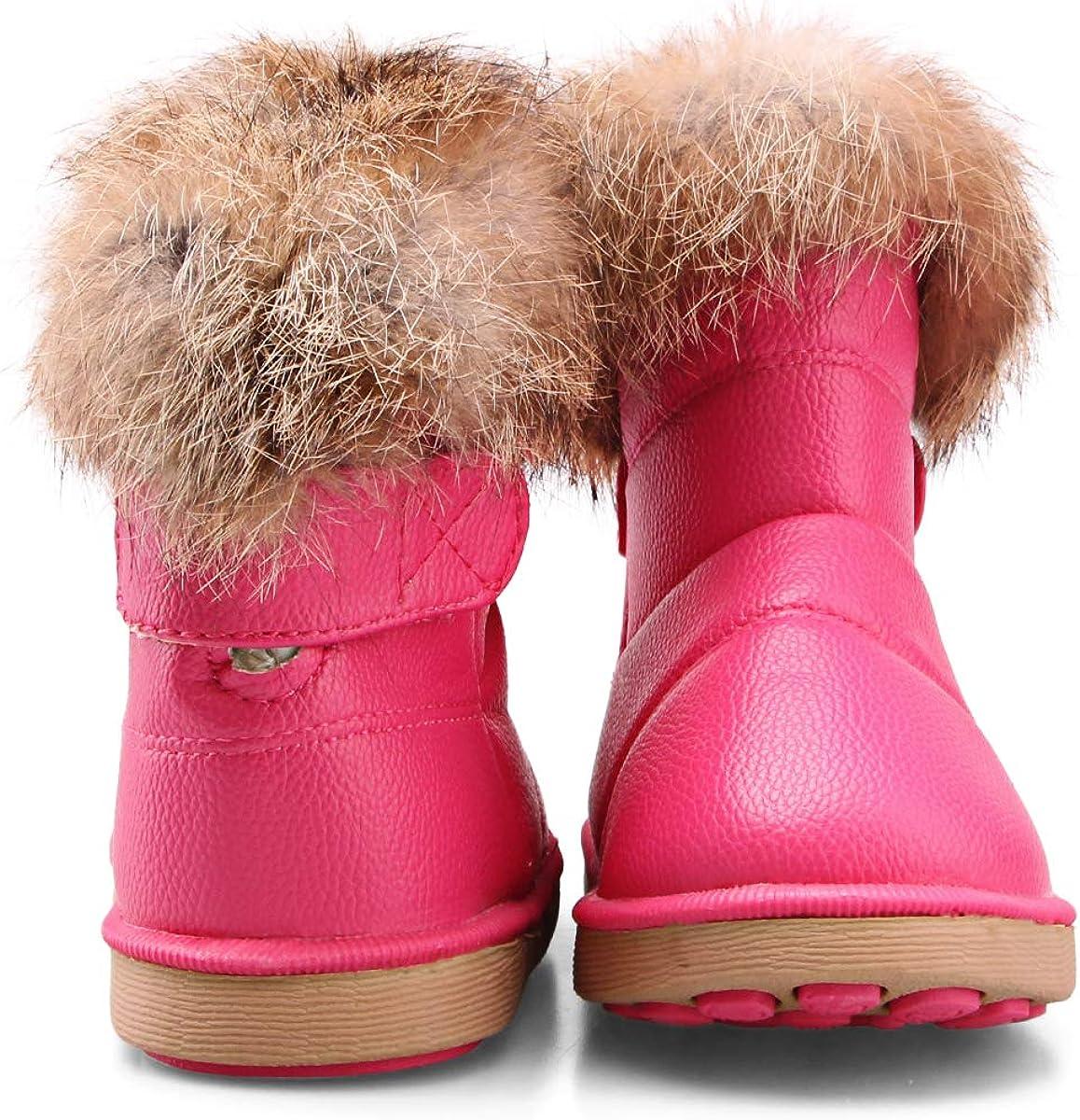 WYSFLY Bambin Filles Bottes De Neige Enfants Bottes Doubl/ées en Fausse Fourrure Hiver Appartements Dext/érieur Chaussures Bottes Chaudes pour Petit Enfant