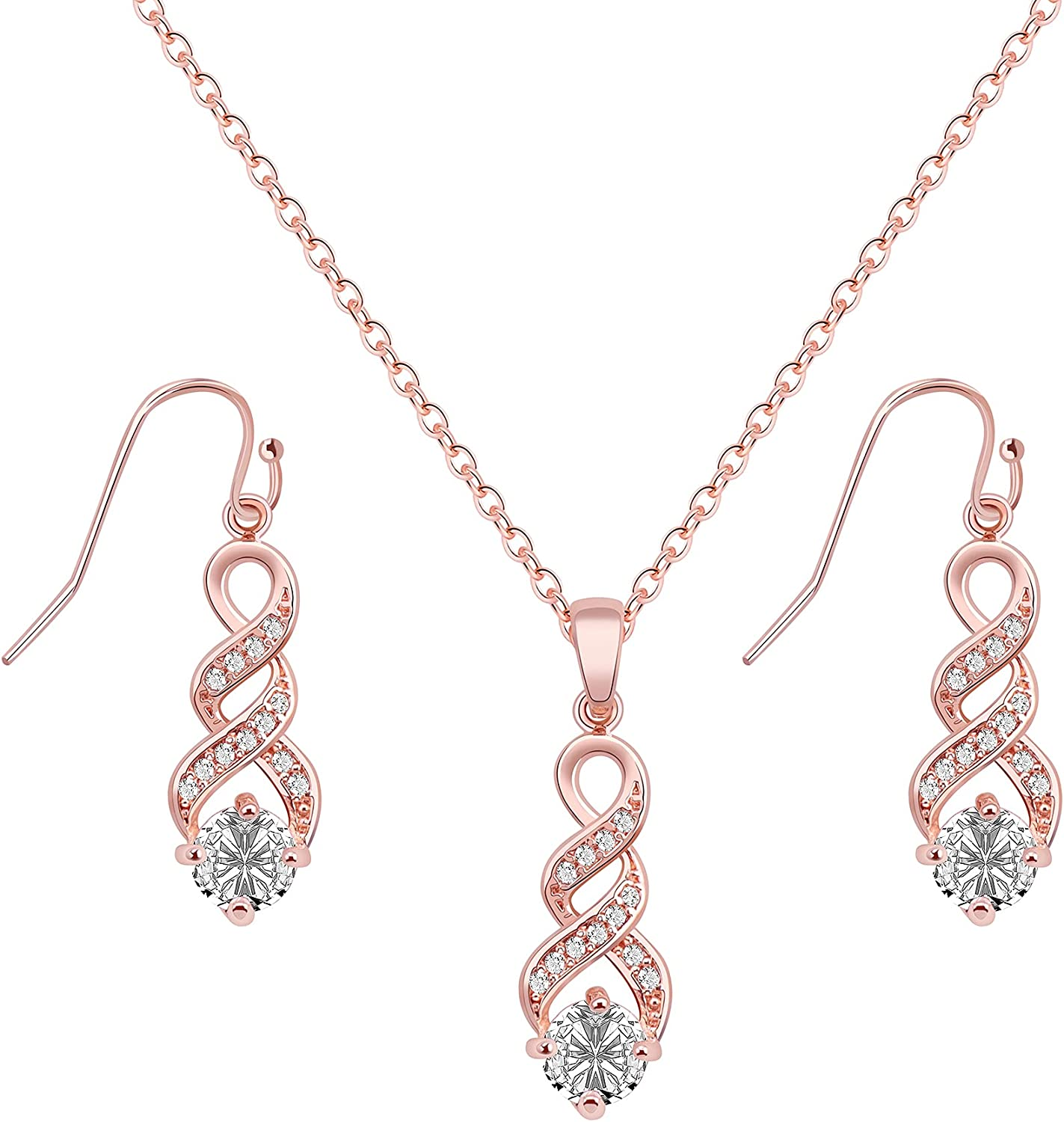 Rose Gold Limited price sale or 18K Gold-Plated 5A Twist Pendant Zirconia Quality inspection Cubic Nec