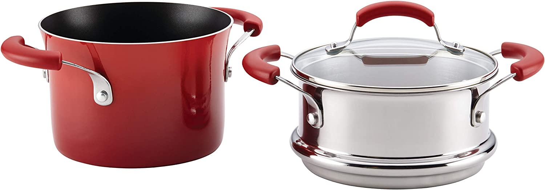 Rachael Ray Brights Sauce Pot/Saucepot with Steamer Insert, 3 Quart, Red Gradient: Rachel Ray Steamer Pot: Home & Kitchen