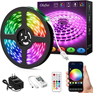 Olafus Ambient RGB LED Strip Light 32.8ft Kit, Smart WiFi Wireless App Control Music Light Tape, Compatible with Alexa/Google Assistant, 16 Million Color Changing Dimmable 300 LEDs 5050 Remote Control