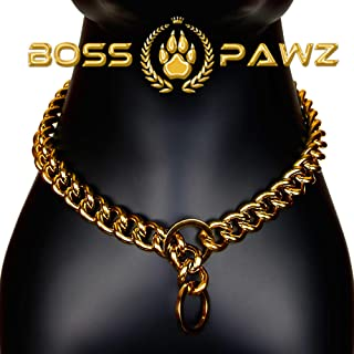 18K Gold Chain Dog Collars Welded Heavy-Duty Stainless Steel Cuban Link Choke Collar 0.8 Inch Wide 24-28 Inch Size