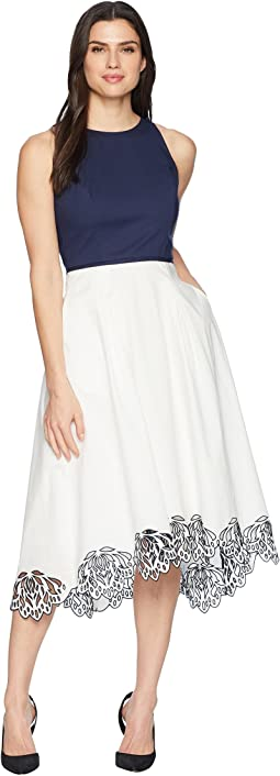 Tahari by ASL Sleeveless Cotton Scallop Bottom Midi Dress