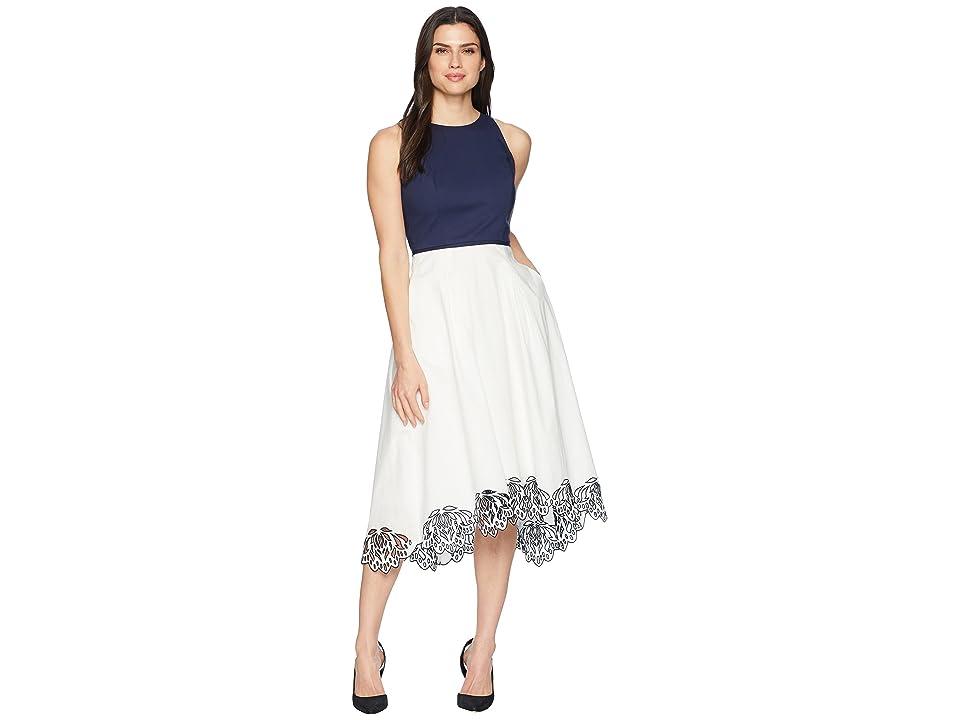 Tahari by ASL Sleeveless Cotton Scallop Bottom Midi Dress (White/Navy) Women