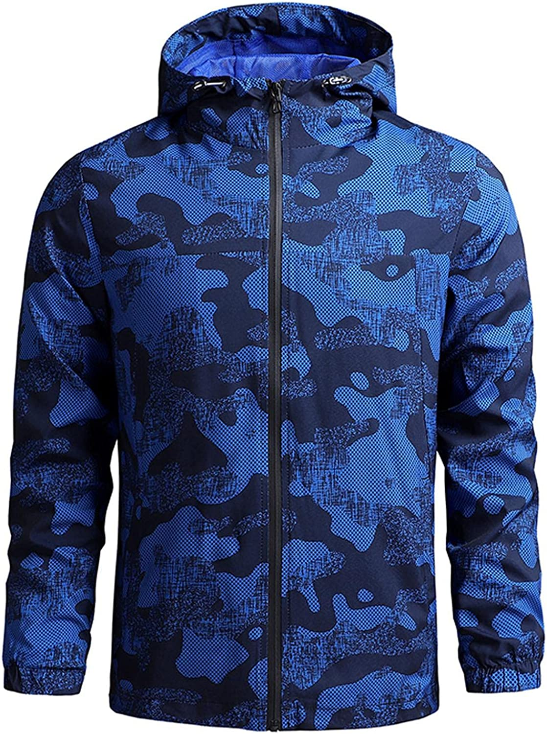 Huangse Men's Casual Lightweight Military Camouflage Hooded Jacket Windproof Zip up Camo Outerwear Coat with Pocket