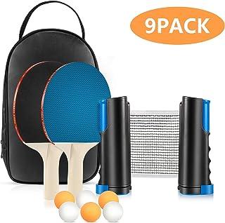 Tencoz Set de Tenis de Mesa, Set de Ping Pong Portátil con Red Retráctil, 2 Raquetas y 6 Pelotas, Palas Tenis de Mesa Ping Pong Profesional para Interior Exterior Juego Niños Familiar
