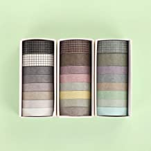 Washi Tape Set of 24 Rolls, Colored Masking Tape Decorative Paper Tape for Arts & Crafts Gift Wrapping, Scrapbooking, Labe...
