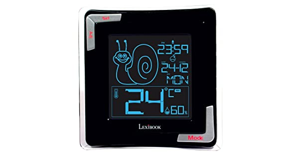 LEXiBOOK Essential ThermoClock TH020 Alarm Clock with Snooze Function Batterie Large Reverse LCD Screen Calendar Black High Precision Digital termometer