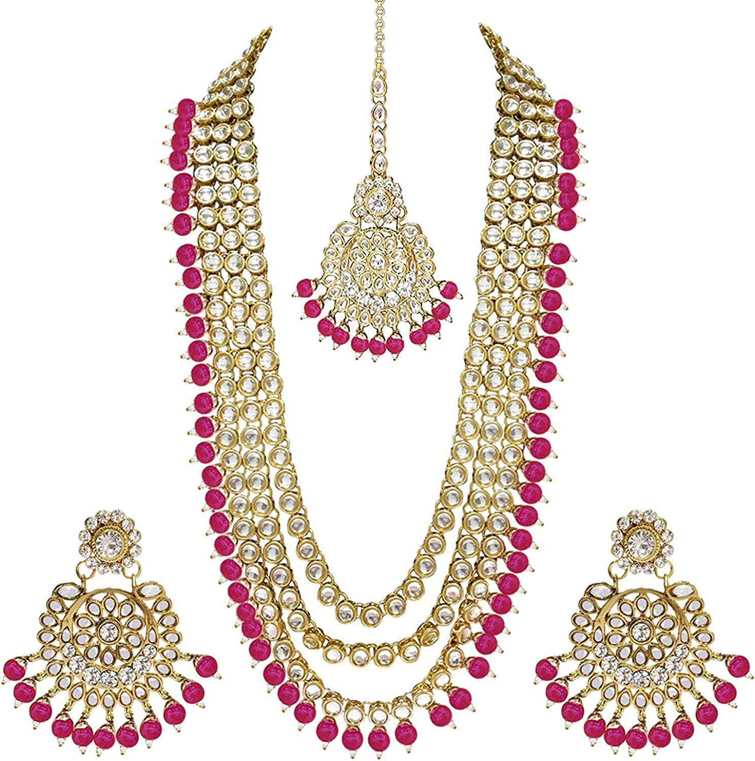 I Jewels 18k Gold Plated Indian Wedding Bollywood Kundan Pearl Beads Bridal Long Necklace Jewellery Set