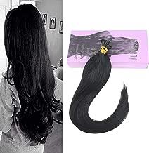 VeSunny I Tip Hair Extensions Human Hair Black/Jet Black 24inch 1G/Strand Per Pack 100% Remy Hair Extensions Pre Bonded Keratin Tip Hair Extensions Human Hair