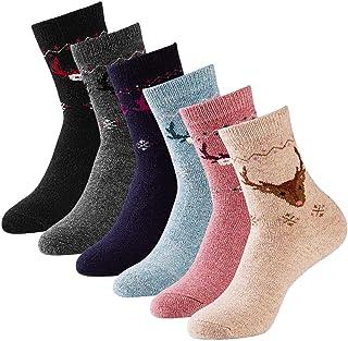 6 pares de calcetines de lana para mujer, calcetines gruesos de punto gruesos de dibujos animados para invierno, calcetines temáticos de Navidad con alces (2019 nuevo)