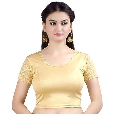 Chandrakala Women's Stretchable Readymade Indian Ethnic Saree Blouse Crop Top Choli (B102)