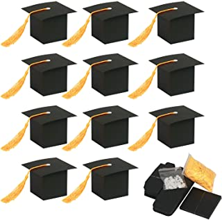 Best Graduation Sweet Boxes,KATOOM 30pcs Doctoral Cap Shaped Gift Box Black Graduation Celebration Treat Sweet Biscuit Chocolate Sweet Box with Yellow Tassel for 2020 Graduation Ceremony Party Review