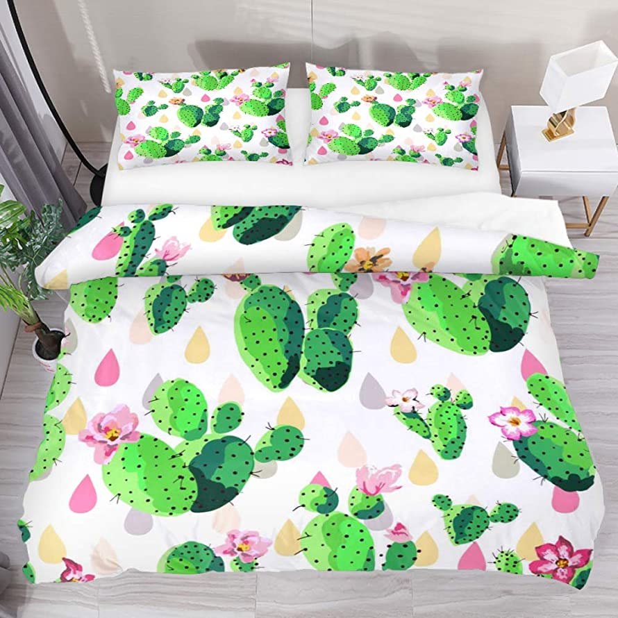 Fresh Cactus Duvet Cover Set Comforter Bedding Sets Soft 3 Piece Extra Long Twin Size with 2 Pillow Shams