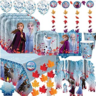 Mega Frozen 2 Birthday Party Supplies and Decoration Pack For 16 With Frozen 2 Dinner and Dessert Plates, Napkins, Cups, Tablecover, String Deco, Table Decoration Kit, Candle, Leaves, and Frozen Pin