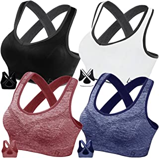 FITTIN Crossback Sports Bras - Padded Seamless Med Support for Yoga Gym Workout Fitness