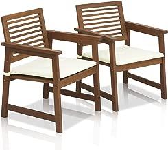 Furinno FG161249 Tioman Hardwood Outdoor Armchairs with Cushion Set