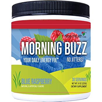 Morning Buzz Sports Energy Drink Mix by New Health, Pre Workout, Sports Nutrition Drink, Supports Lasting Energy, Endurance, Mental Clarity, and Metabolism, 8 Ounce Powder, 30 Servings(Blue Raspberry)