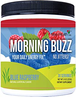 Morning Buzz Sports Energy Drink by New Health, Pre Workout, Sports Nutrition Drink, Supports Lasting Energy, Endurance, Mental Clarity, and Metabolism, 8 Ounce Powder Mix, 30 Servings(Blue Raspberry)