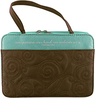 Turquoise/Brown Micro-Fiber Purse-Style Quilt Stitched Bible / Book Cover - 1 Corinthians 13:4, 7 (Large)