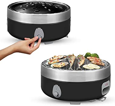 Portable Charcoal Outdoor BBQ Grill For Camping With Travel Bag - Small Tabletop Smoke & Smokeless Pan Optional - Built In El
