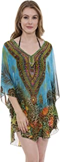 Mixed Print Topper, Coverup, Poncho with Rhinestone Studs