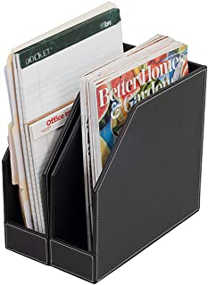 Executive PU Leather Vertical File Folder Holder & Office Product Organizer, Store Files, Magazines, Notepads, Books and M...