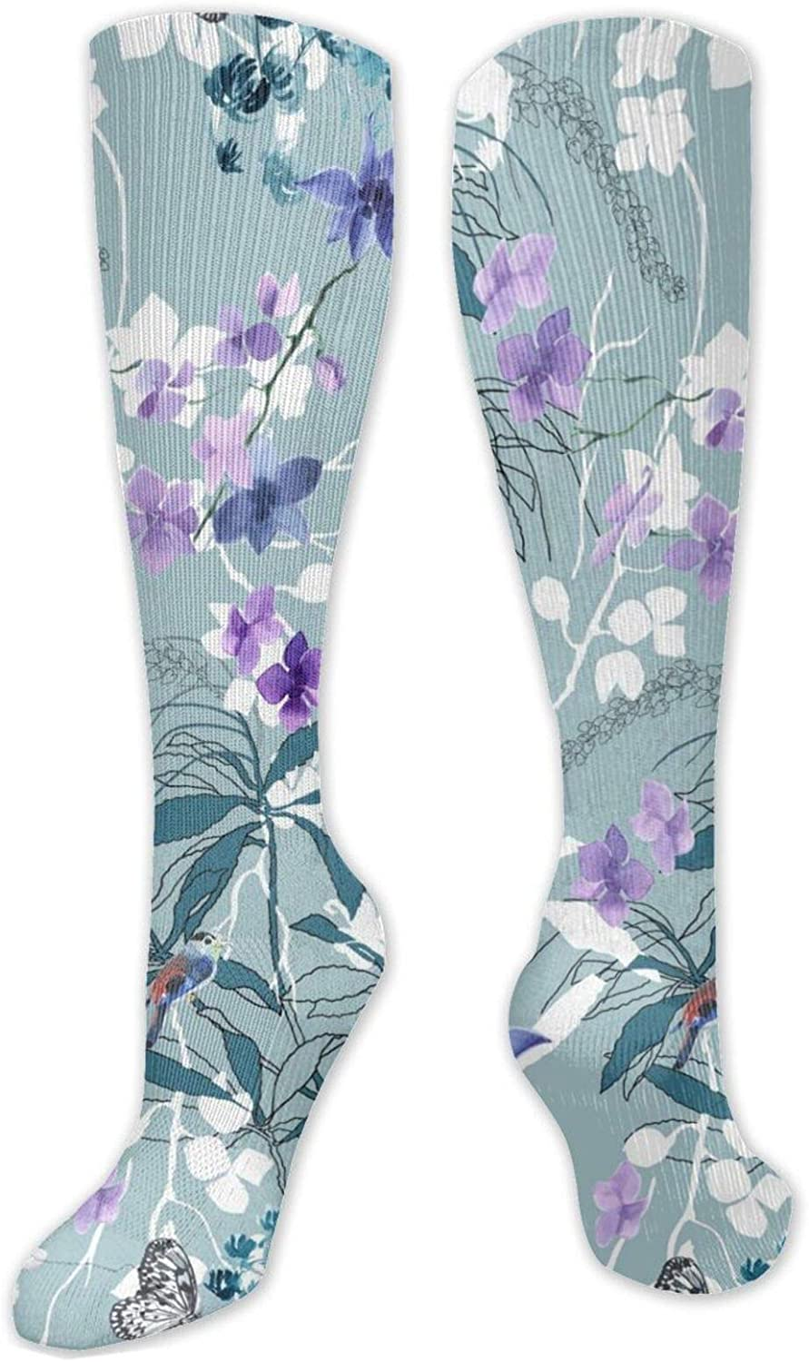 White Purple Flowers Butterfuly Knee High Socks Leg Warmer Dresses Long Boot Stockings For Womens Cosplay Daily Wear