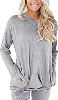 UXELY Women's Casual Comfy Long Sleeve Pullover Tunic Tops Round Neck Sweatshirt Loose Soft with Pockets Pullover