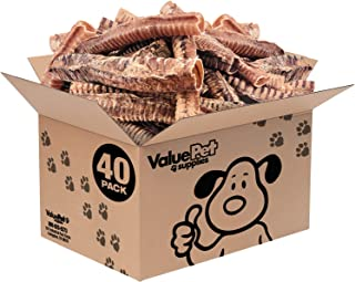 ValueBull Beef Trachea Tubes, Premium 12 Inch, 40 Count - Angus Beef Dog Chews, Grass-Fed, Single Ingredient