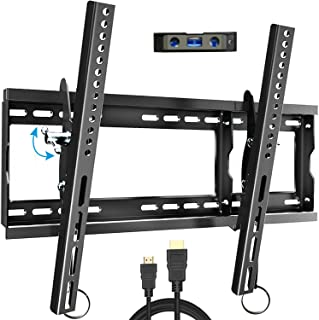 "Everstone Adjustable Tilt TV Wall Mount Bracket for Most 32-80 Inch LED,LCD,OLED,Plasma Flat Screen,Curved TVs,Low Profile,Up To VESA 600x400 and 165 LBS,Includes HDMI Cable and Level,Fits 16"",18"",24"""