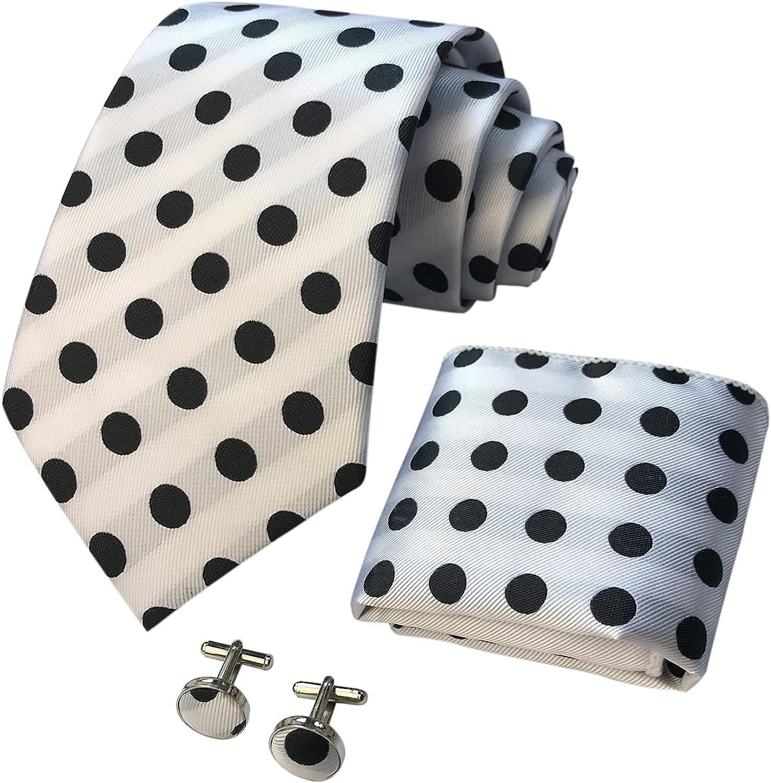 CANGRON Men Tie Geometric Necktie Pocket Square Cufflinks Tie Set with Giftbox LST8ZH