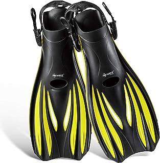 Snorkel Fins, Diving Fins Swim Fins Short Swim Flippers for Training Adjustable Buckles Open Heel Scuba Diving Fins Travel...