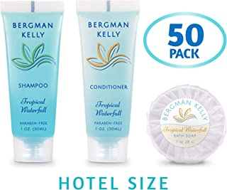 BERGMAN KELLY Round Soap Bars, Shampoo & Conditioner 3-Piece Set (1 oz each, 150 pc, Tropical Waterfall), Delight Your Guests with Invigorating & Refreshing Bulk Travel Size Hotel Toiletries