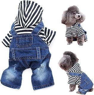 LKEX Pet Clothes Jumpsuit, Dog Jeans Jacket, Cool Puppy Shirt, Blue Denim Coat,Vintage Washed Apparel, Classic Hoodies Out...
