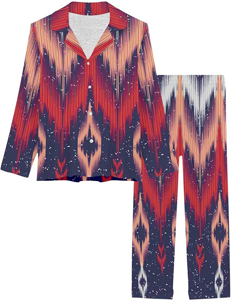InterestPrint Long Sleeve Button Down Nightwear with Long Pants Embroidery Style