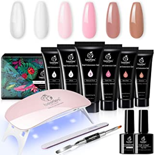 Beetles Poly Extension Gel Nail Kit, Nail Builder Gel Nail Enhancement Trial Kit Professional Nail Technician All-in-One F...