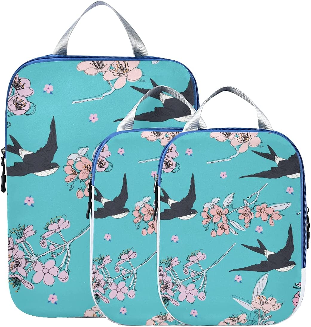 Compression Classic Travel Max 57% OFF Bags Cute Flying Barn S Swallow Flower Animal