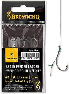 Browning Bronzen 4 vlechten feeder leader methode boilie naalden 7,3 kg, 0,14 mm 10 cm 3 stuks, 4