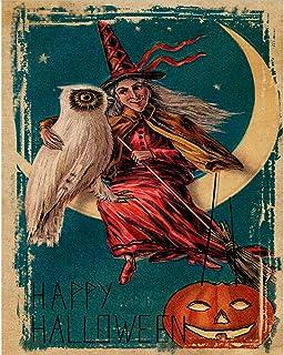 Halloween Witch Moon Cat Metal Tin Sign 8x12 Inch Retro Travel Garage Restaurant