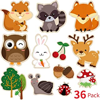 Blulu 36 Pieces Woodland Creatures Party Supplies, 5.90 x 7.87 Inch Laminated Woodland Animal DIY Baby Shower, Woodland Animal Cutouts for Woodland Animal Theme Party