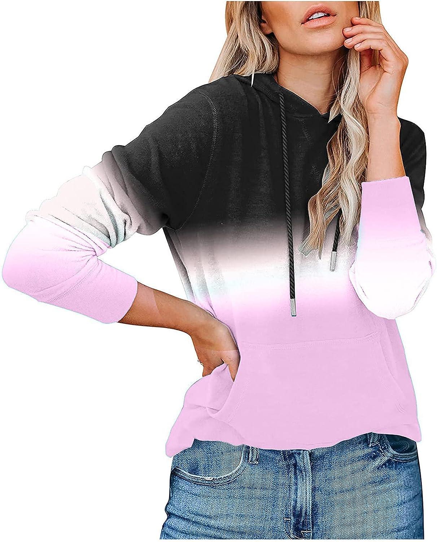 Hoodies for Women Fashion Casual Long Sleeve Hoodies Cute Print Patchwork Sweatshirt Tops with Pocket