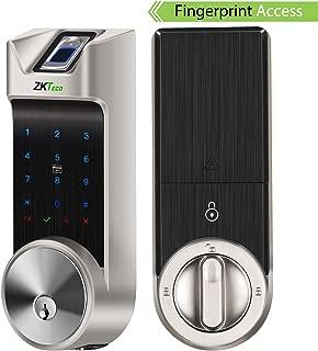 ZKTeco Smart Lock, Fingerprint Door Lock, Bluetooth Enabled | Keyless Entry | Access Cards | Touchscreen Keypad, Deadbolt Outdoor Lock AL40B-Silver