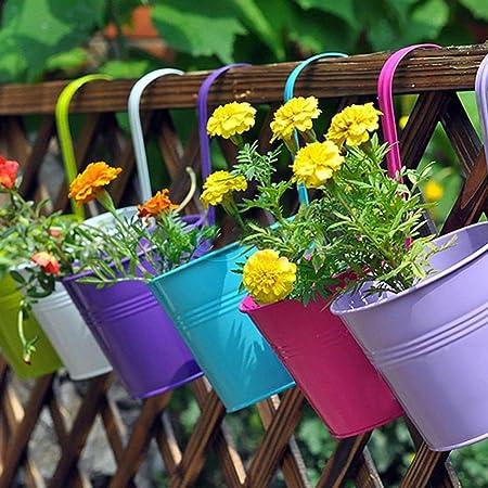 Outdoor Balcony Vintage Metal Home Decor Flower Pot Metal Hanging Flower Planter ZONGMIC 6pcs Hanging Flower Pot Retro Gray Fence Pot Wall D/écor