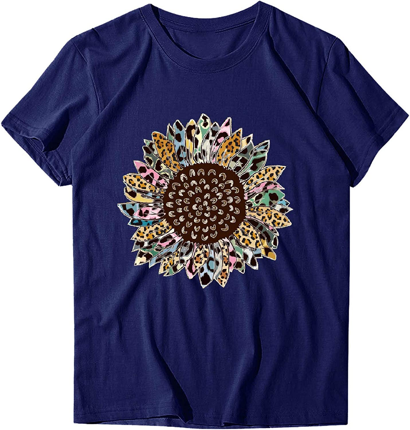 Aukbays Graphic Tees for Women Sunflower Printed Womens Short Sleeve Tops O Neck Summer Casual Shirt T-Shirts Blouses