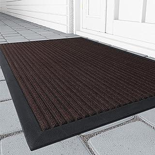 Outdoor Door Mat, Heavy Duty Non Slip Rubber Welcome Mats for Front Door Outdoor Indoor, Absorbent Mud Scrapper Shoe Rug D...