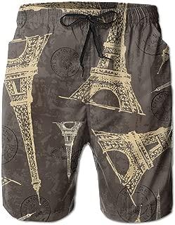 Qpkia Vintage Eiffel Tower Paris Passport Stamps Men Casual Drawstring Beach Boardshorts Pants Pocket