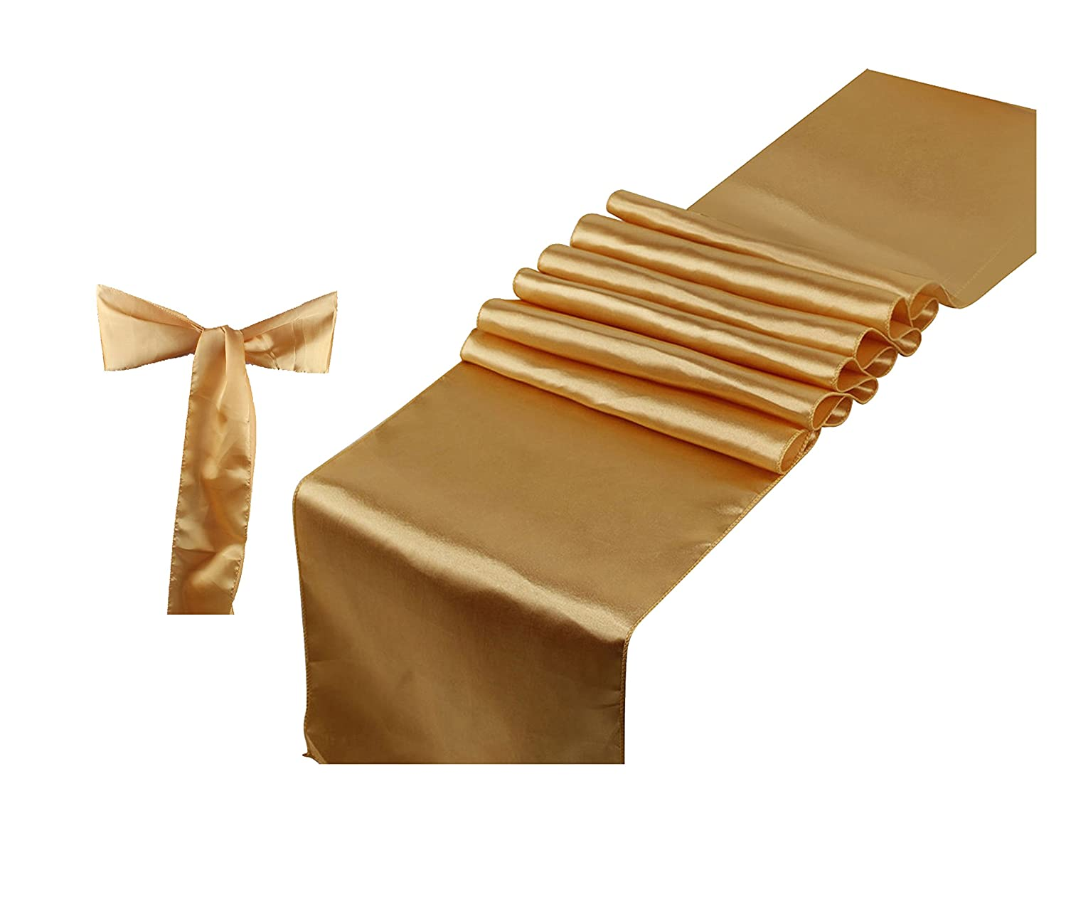 Elina Home Combo Satin Pack 10 Table Runner 12x108Inch & 50 Chair Bow Sash WeddingBanquet Kitchen HomeDecor (Gold)