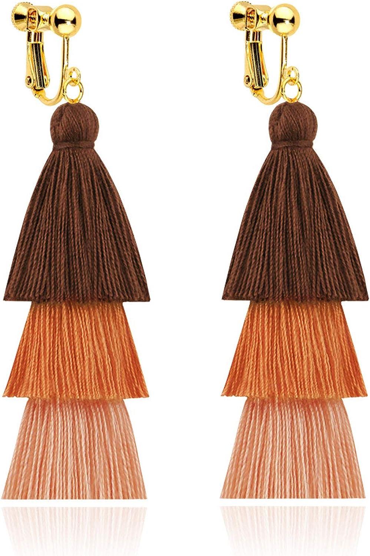 Tiered Tassel Long Clip on Earrings for Women Girls Screw Back Bohemian Boho Handmade Dangle Fringe Statement Lightweight Thread Layered Brown