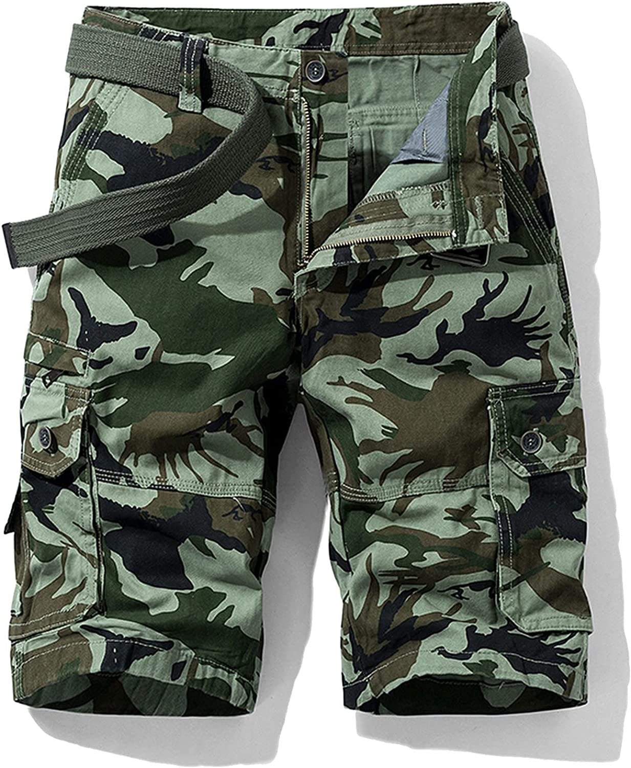 B dressy New Summer Cargo Shorts Men Camouflage Cotton Khaki Loose Casual Outwear Overalls-Green-3-32